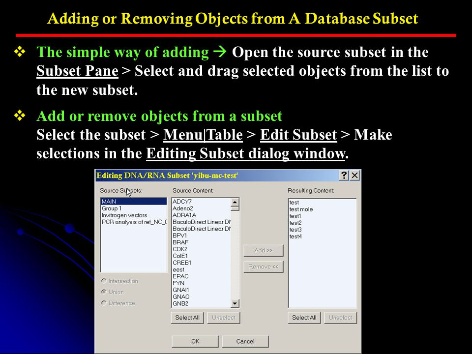 Adding or Removing Objects from A Database Subset
