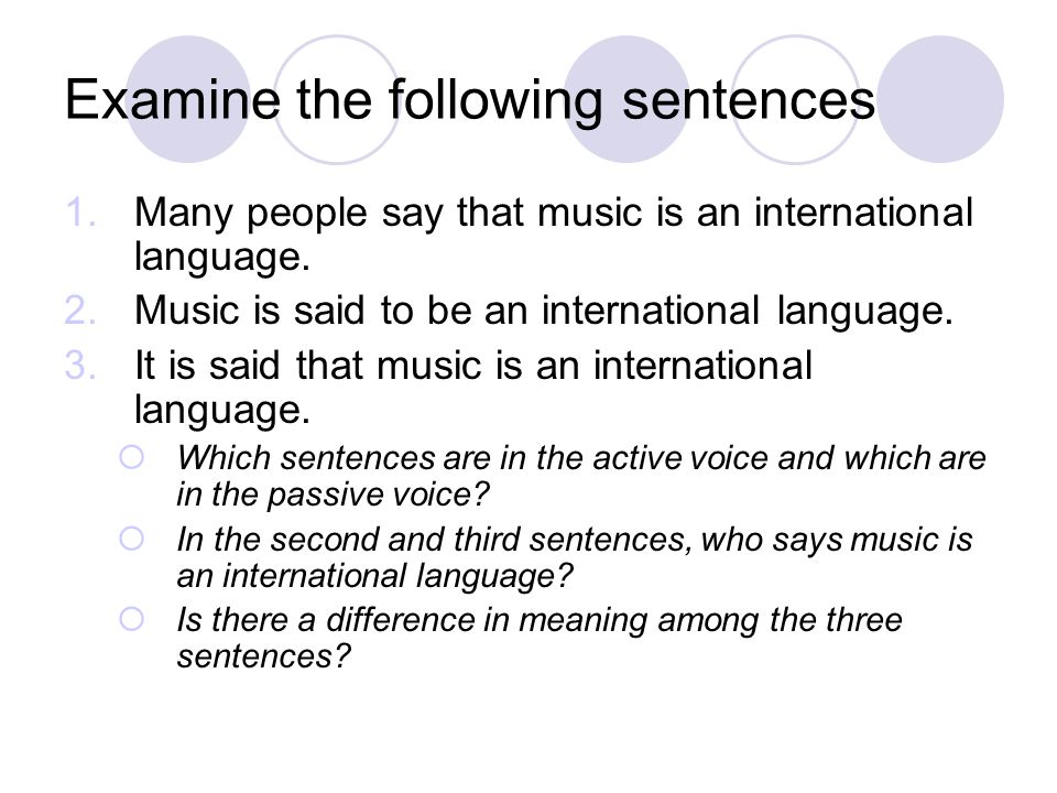Examine the following sentences