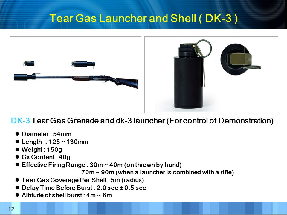 Tear Gas Launcher and Shell ( DK-3 )