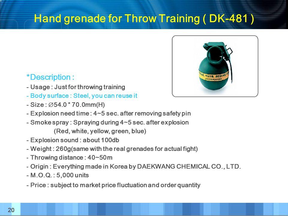 Hand grenade for Throw Training ( DK-481 )