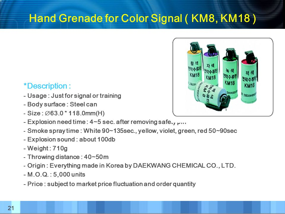 Hand Grenade for Color Signal ( KM8, KM18 )
