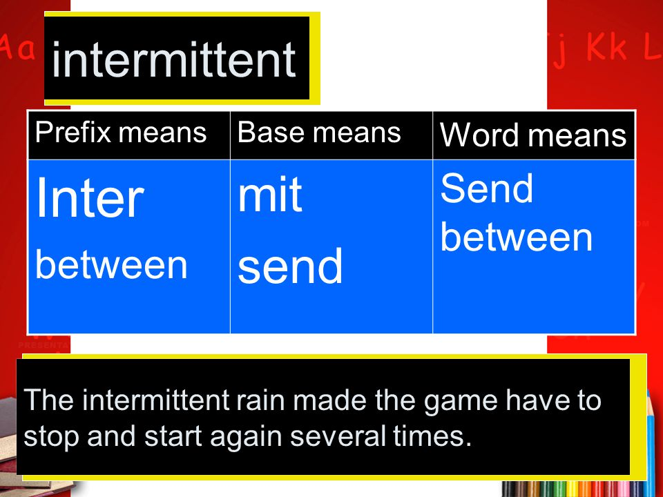 Inter intermittent mit send Send between between Word means
