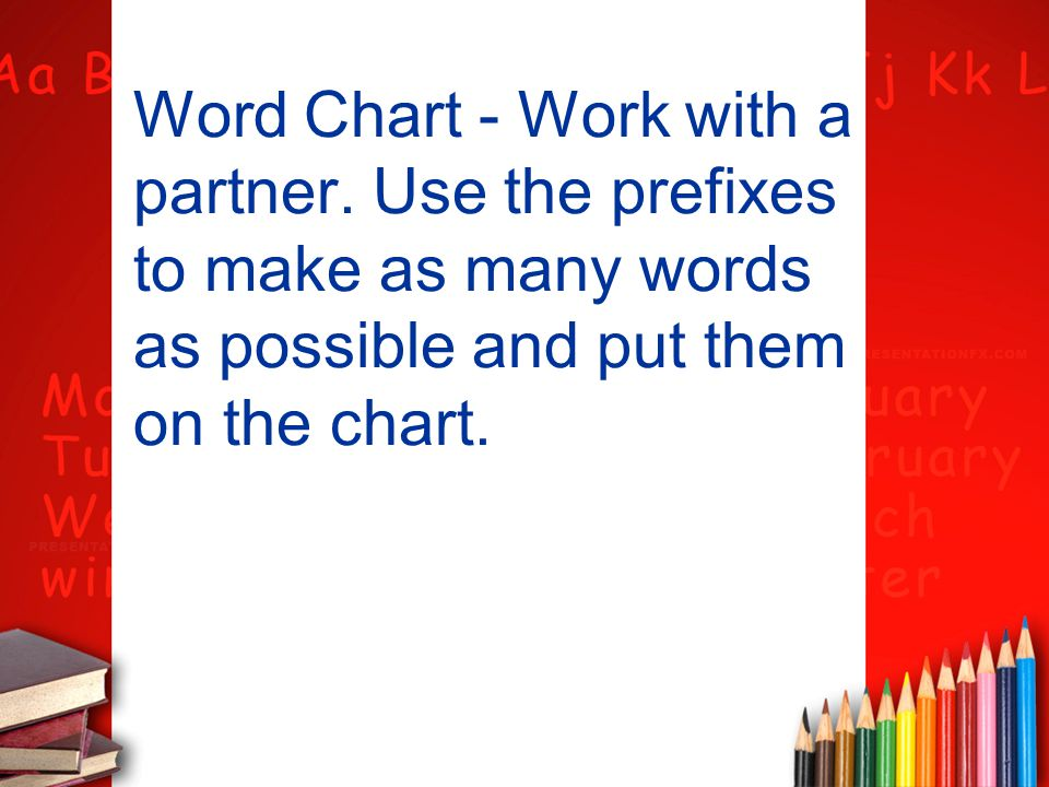 Word Chart - Work with a partner