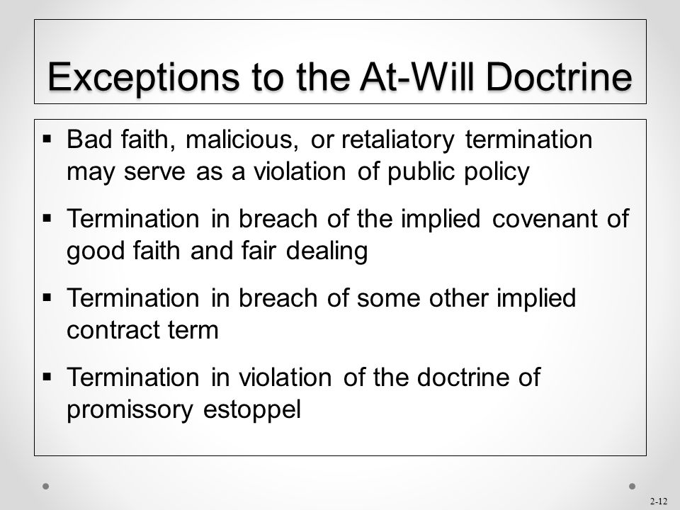 Exceptions to the At-Will Doctrine