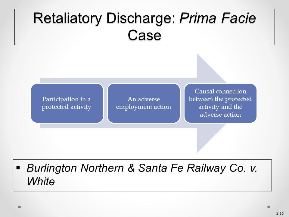 Retaliatory Discharge: Prima Facie Case