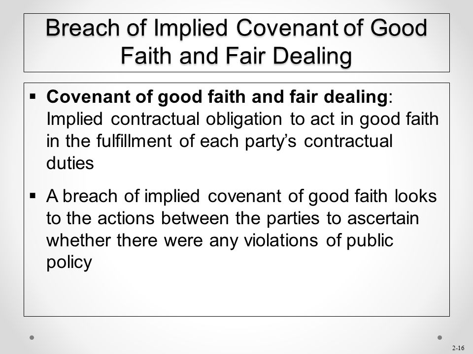 Breach of Implied Covenant of Good Faith and Fair Dealing