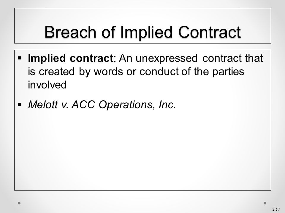 Breach of Implied Contract
