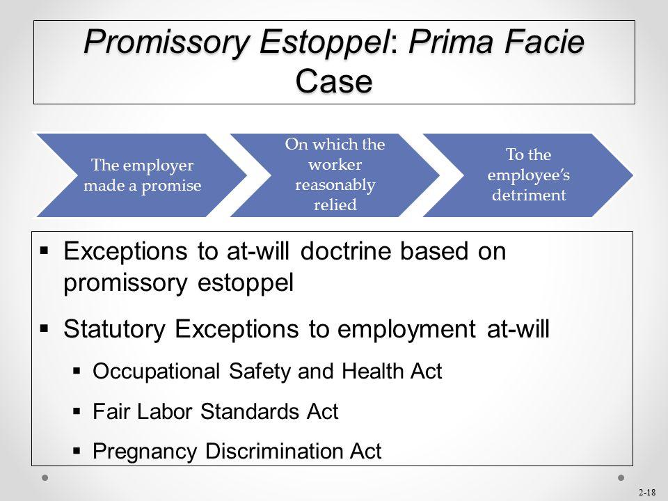 Promissory Estoppel: Prima Facie Case