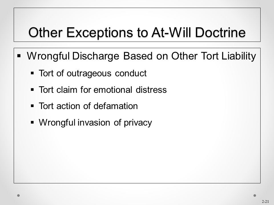 Other Exceptions to At-Will Doctrine