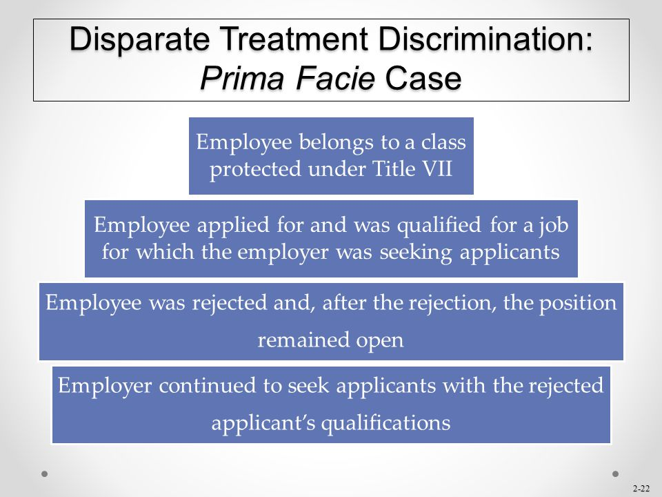 Disparate Treatment Discrimination: Prima Facie Case