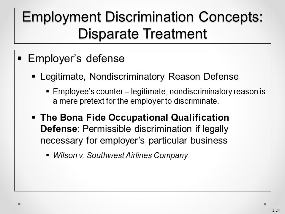 Employment Discrimination Concepts: Disparate Treatment