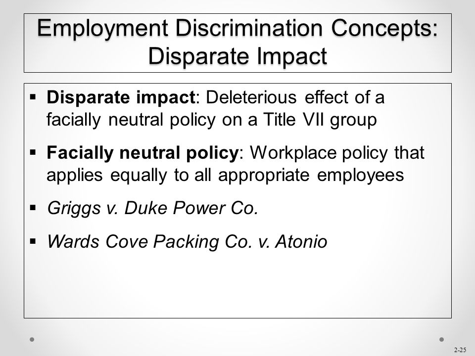 Employment Discrimination Concepts: Disparate Impact