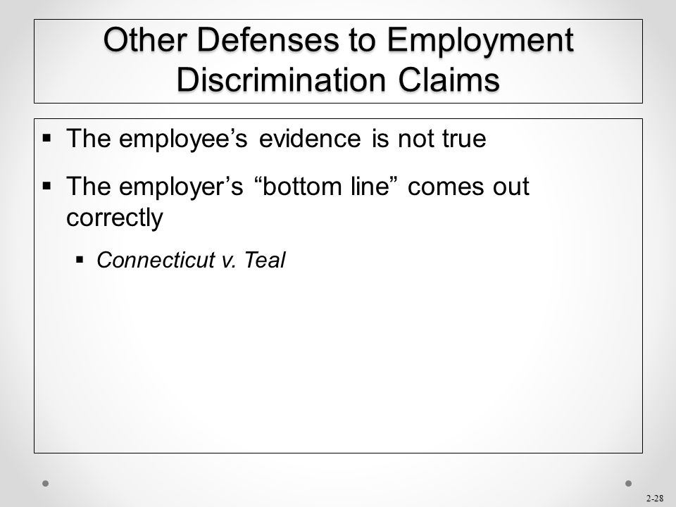 Other Defenses to Employment Discrimination Claims