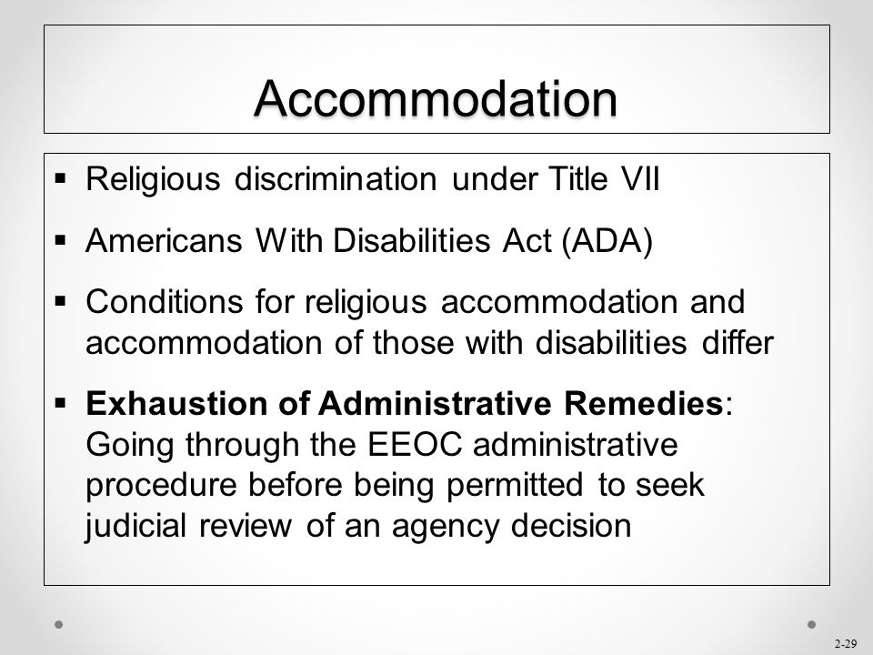 Accommodation Religious discrimination under Title VII