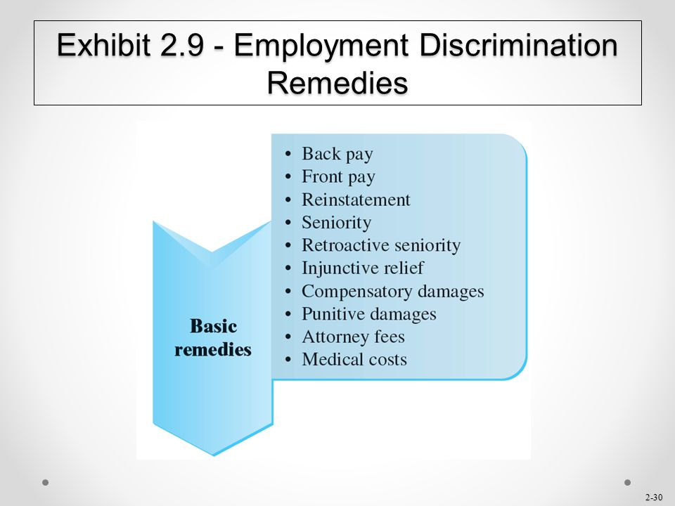 Exhibit 2.9 - Employment Discrimination Remedies