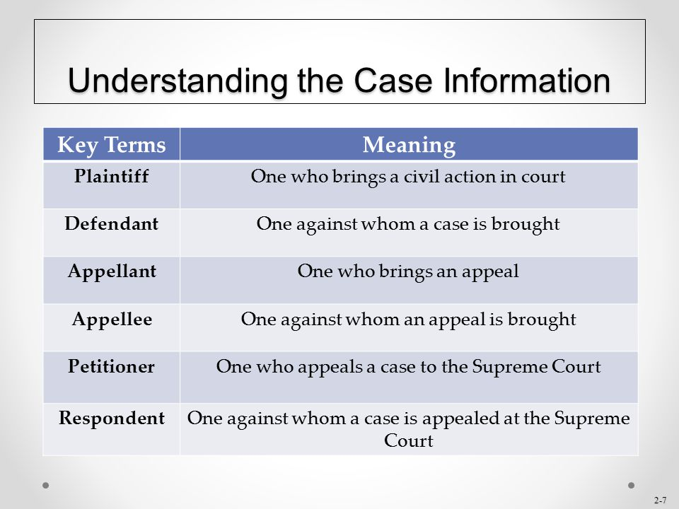 Understanding the Case Information