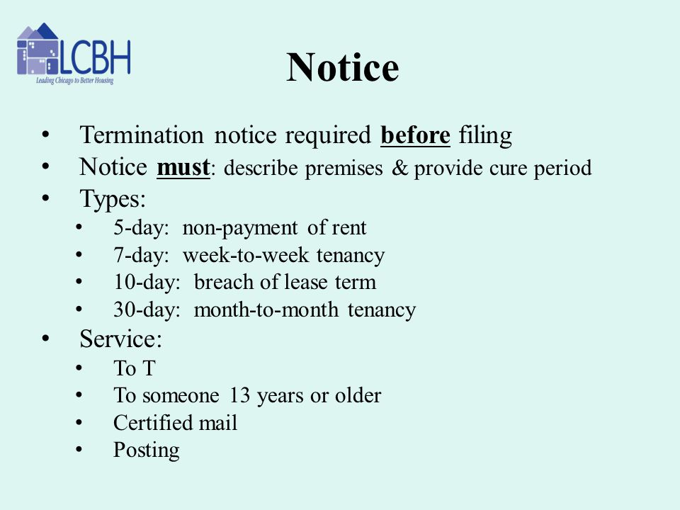 Notice Termination notice required before filing