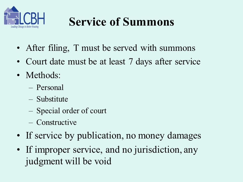 Service of Summons If service by publication, no money damages