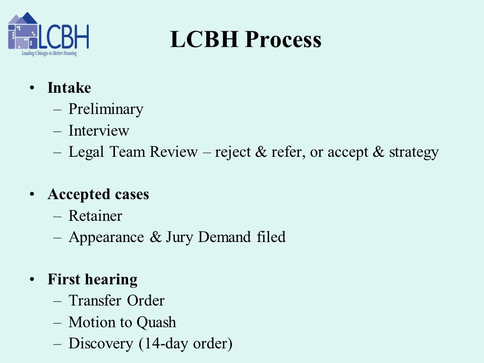 LCBH Process Intake Preliminary Interview