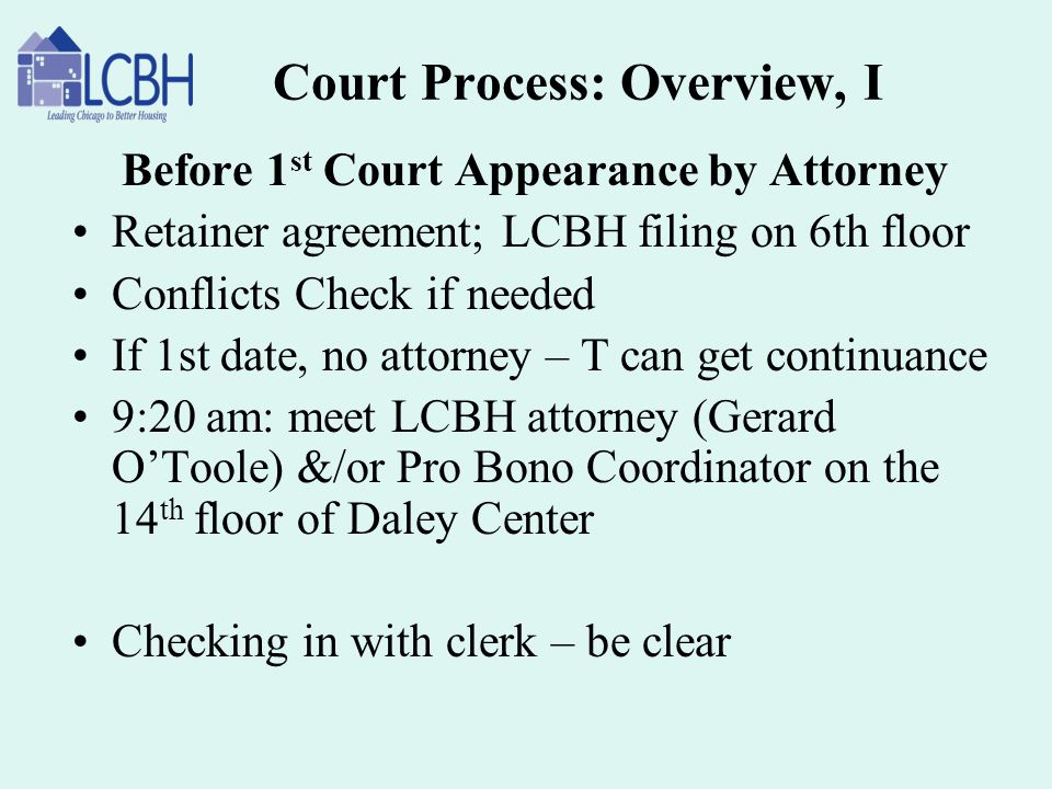 Court Process: Overview, I