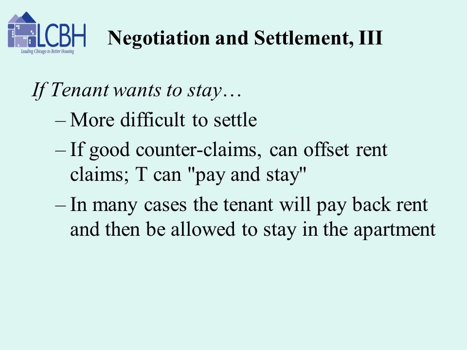 Negotiation and Settlement, III