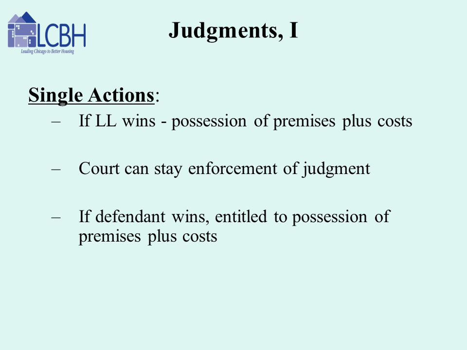 Judgments, I Single Actions: