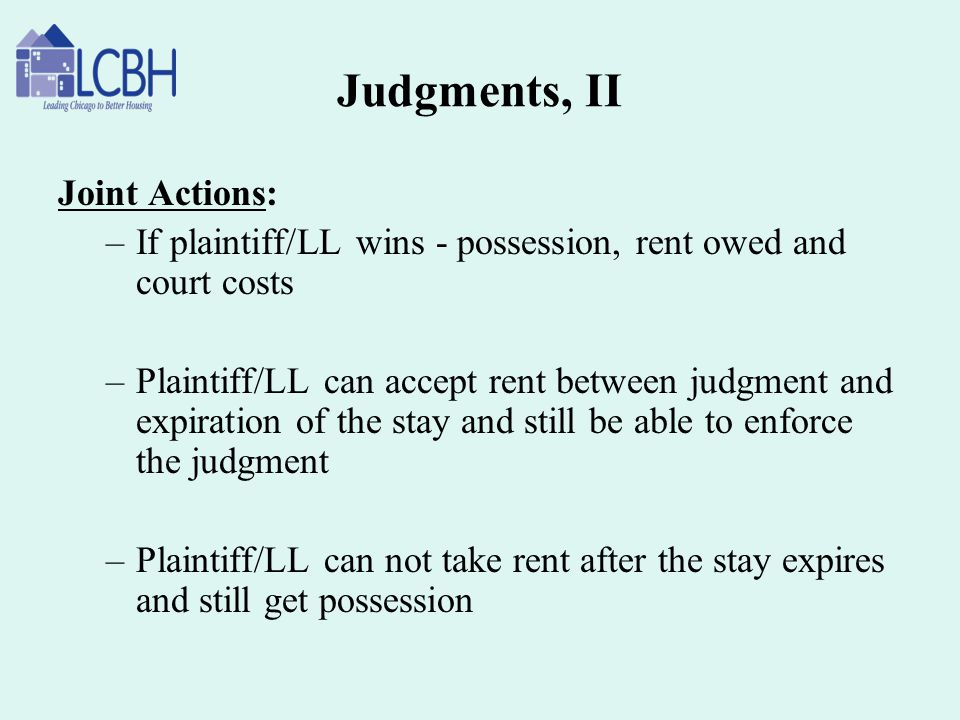 Judgments, II Joint Actions:
