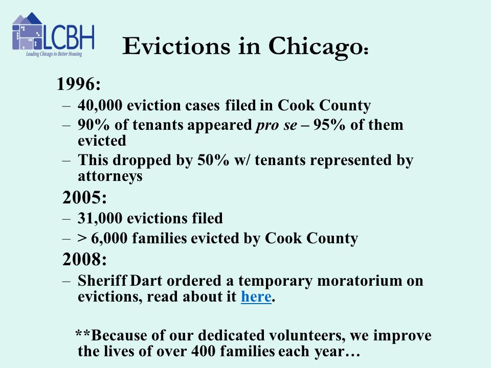 Evictions in Chicago: 1996: 2005: 2008:
