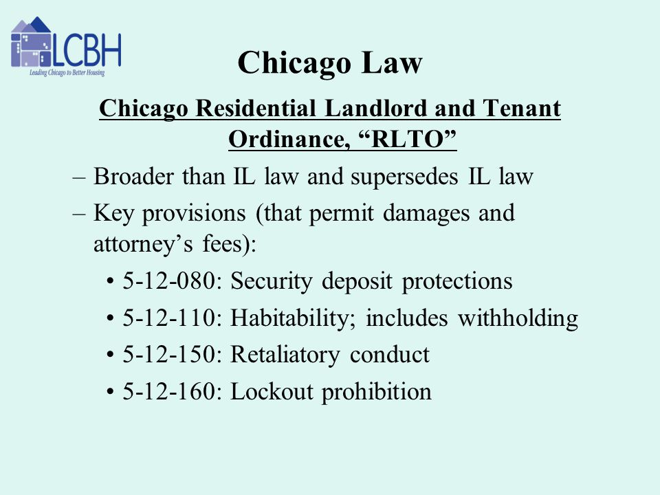 Chicago Residential Landlord and Tenant Ordinance, RLTO