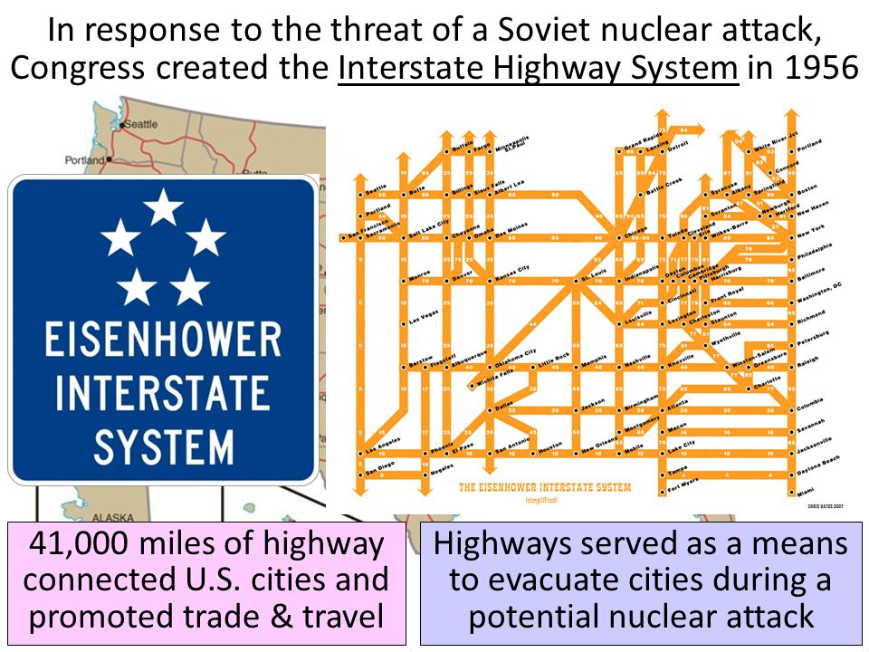 In response to the threat of a Soviet nuclear attack, Congress created the Interstate Highway System in 1956