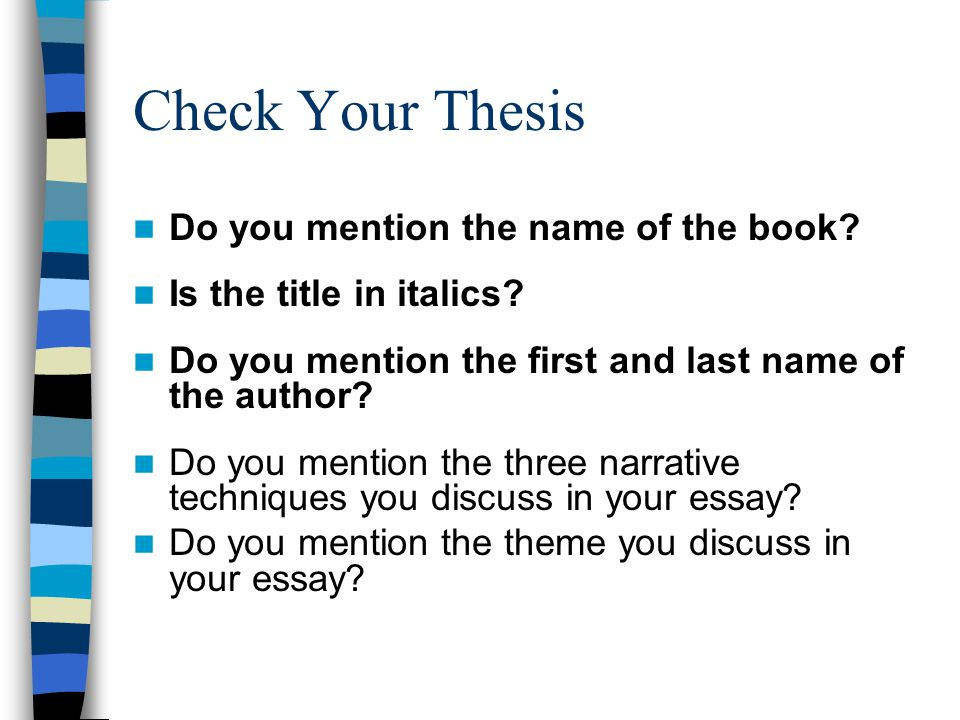 Check Your Thesis Do you mention the name of the book