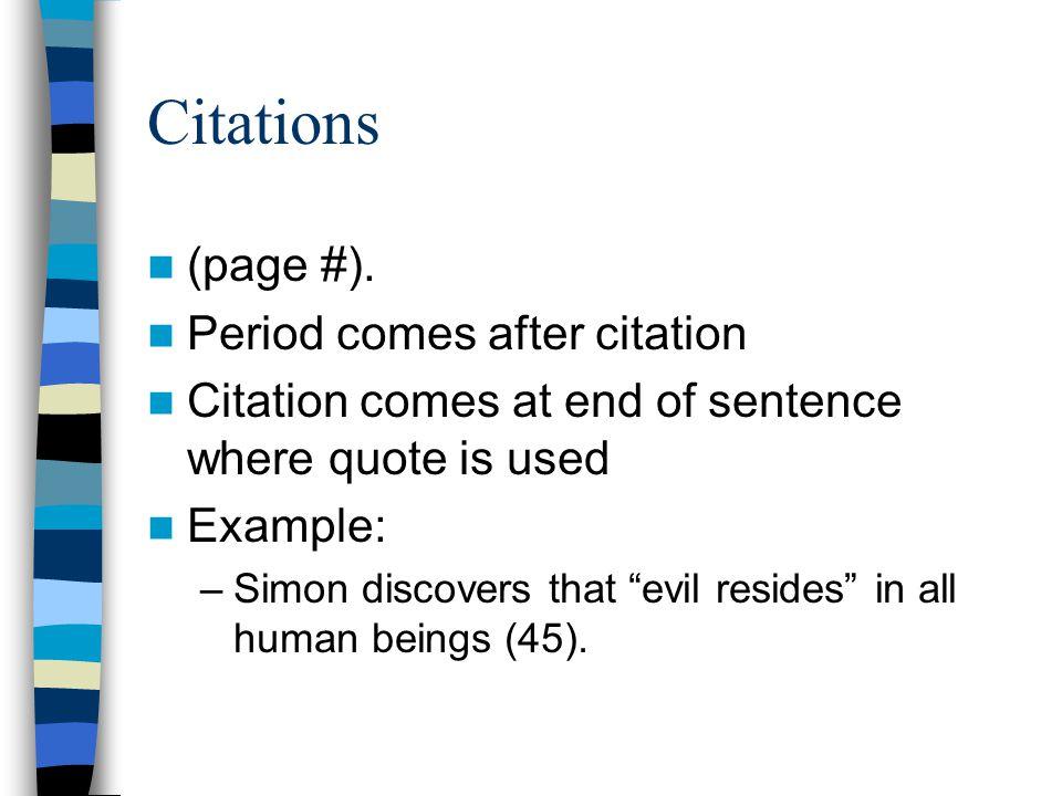 Citations (page #). Period comes after citation