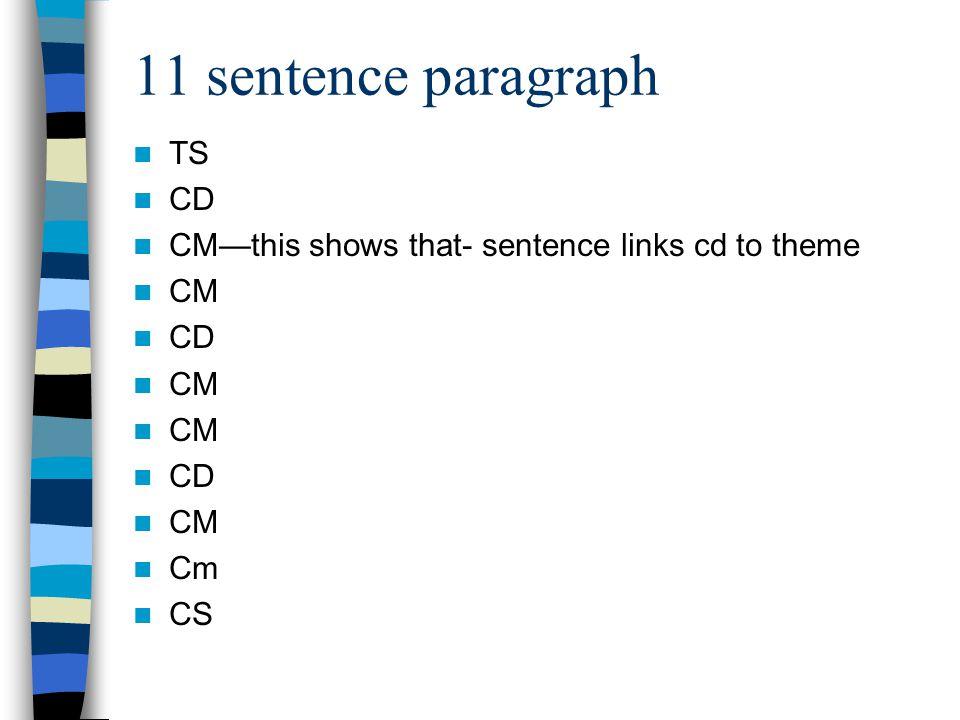 11 sentence paragraph TS CD