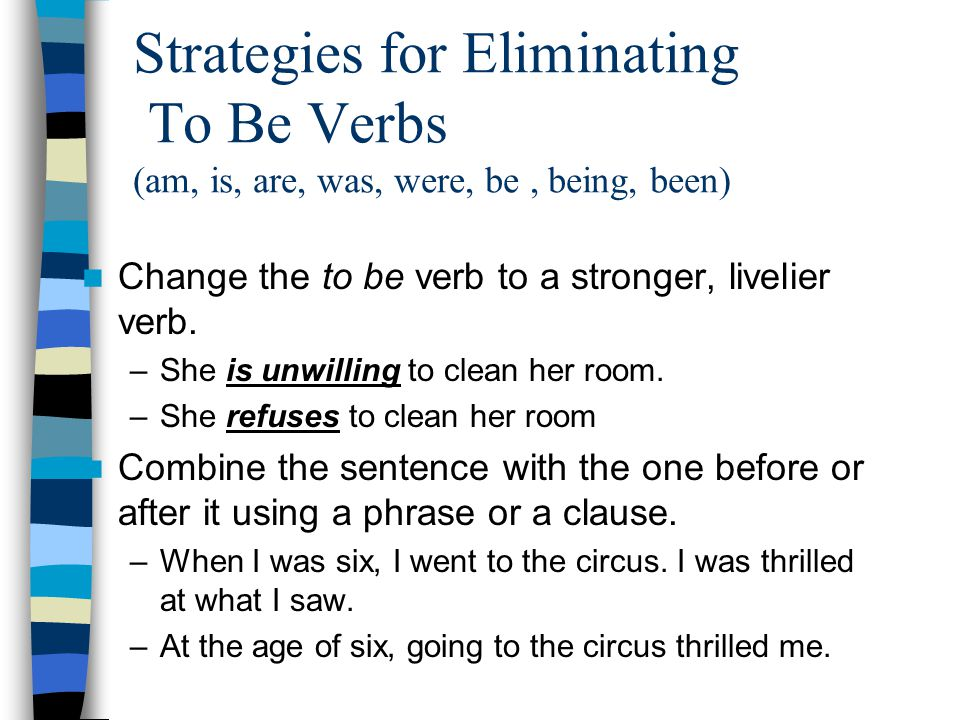 Strategies for Eliminating To Be Verbs (am, is, are, was, were, be , being, been)