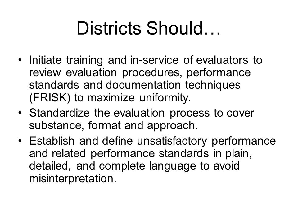 Districts Should…