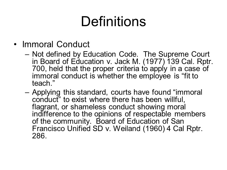 Definitions Immoral Conduct