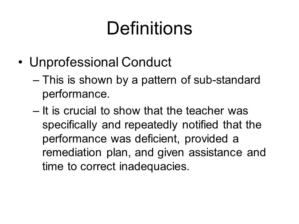 Definitions Unprofessional Conduct
