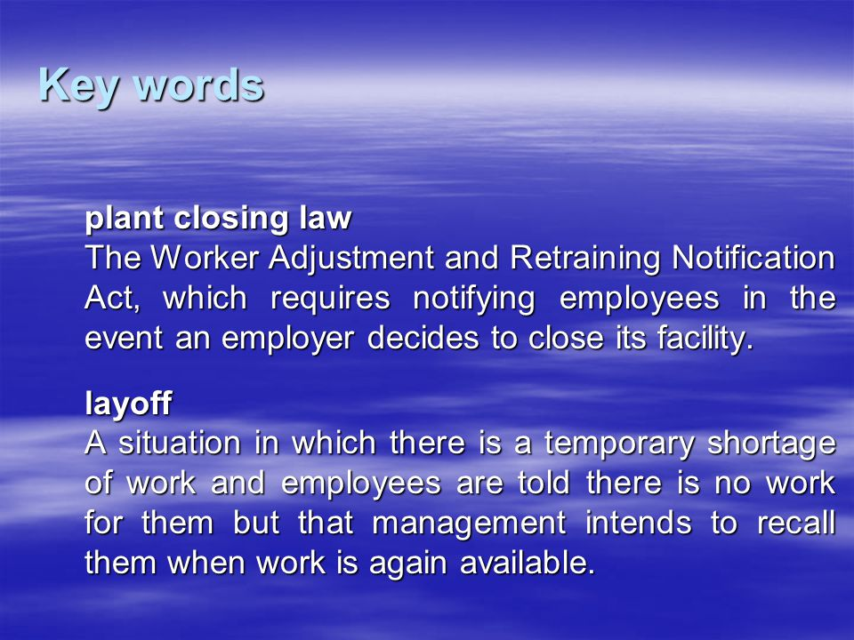 Key words plant closing law