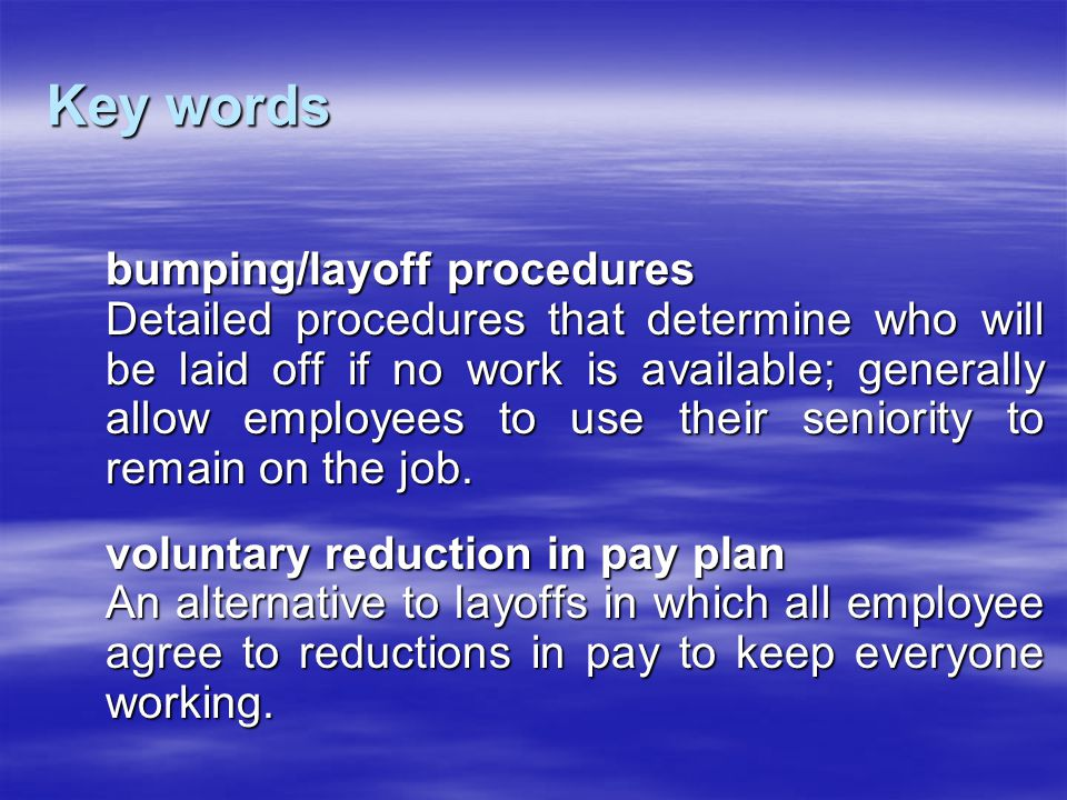 Key words bumping/layoff procedures