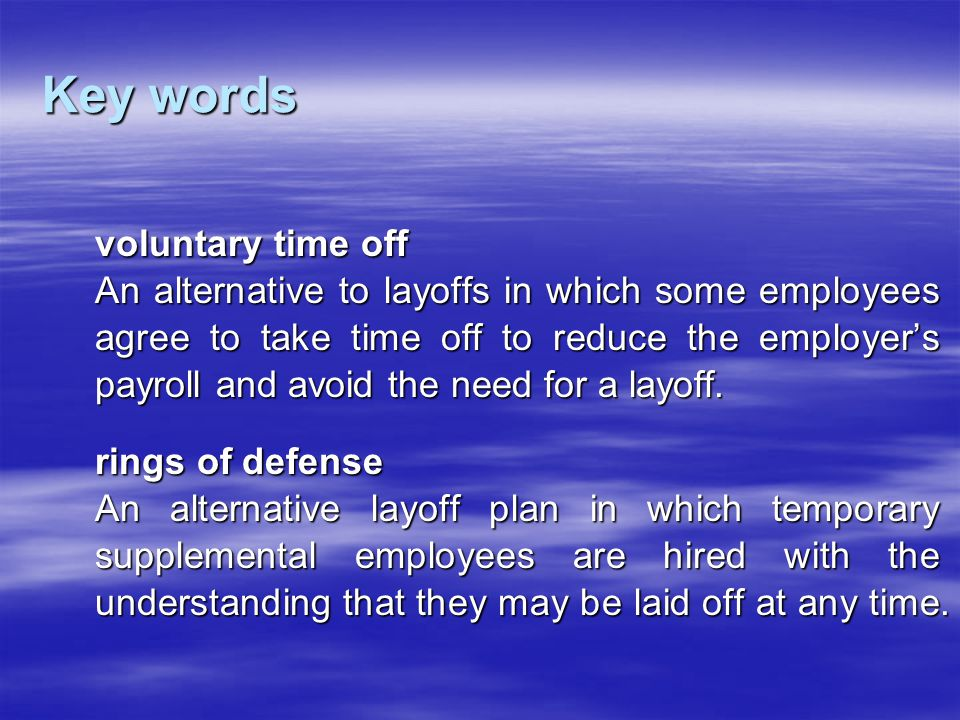 Key words voluntary time off