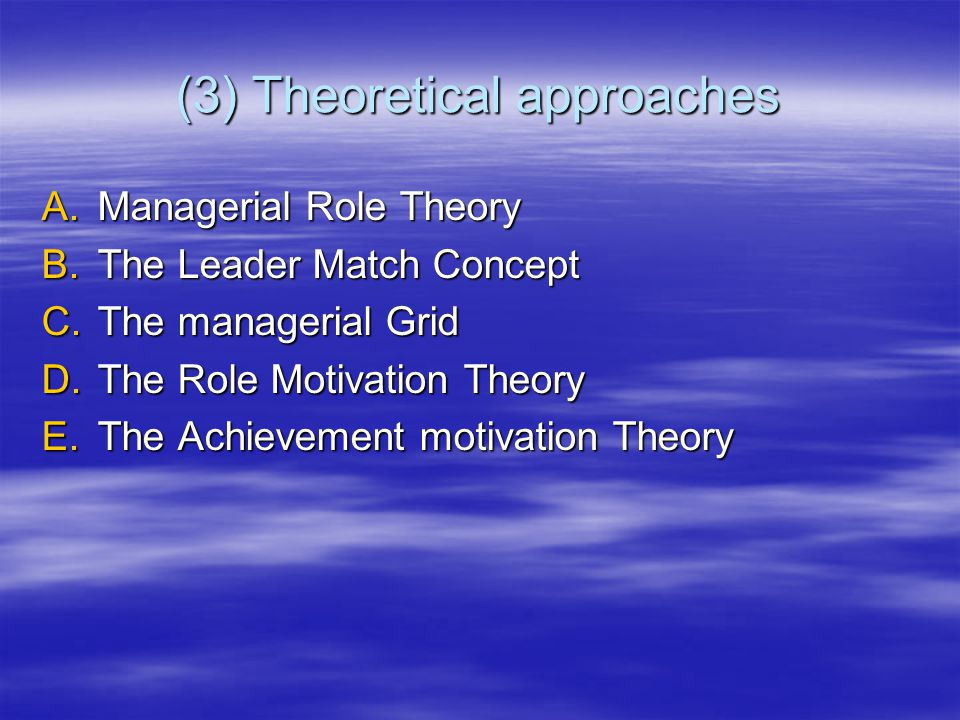 (3) Theoretical approaches