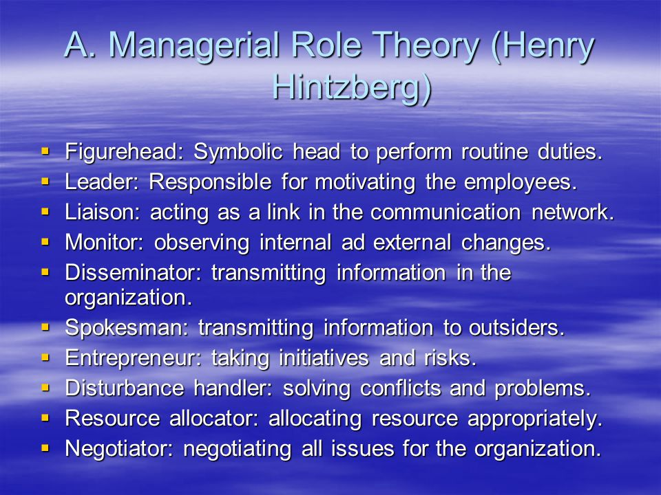 Managerial Role Theory (Henry Hintzberg)