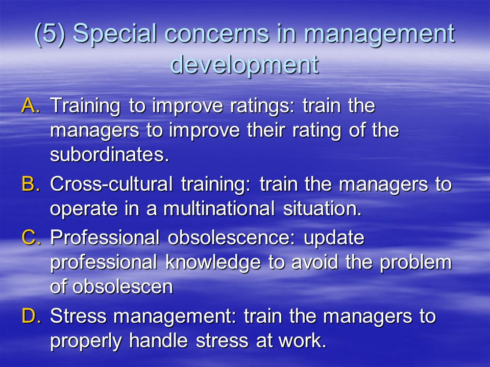 (5) Special concerns in management development