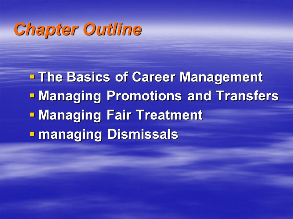 Chapter Outline The Basics of Career Management