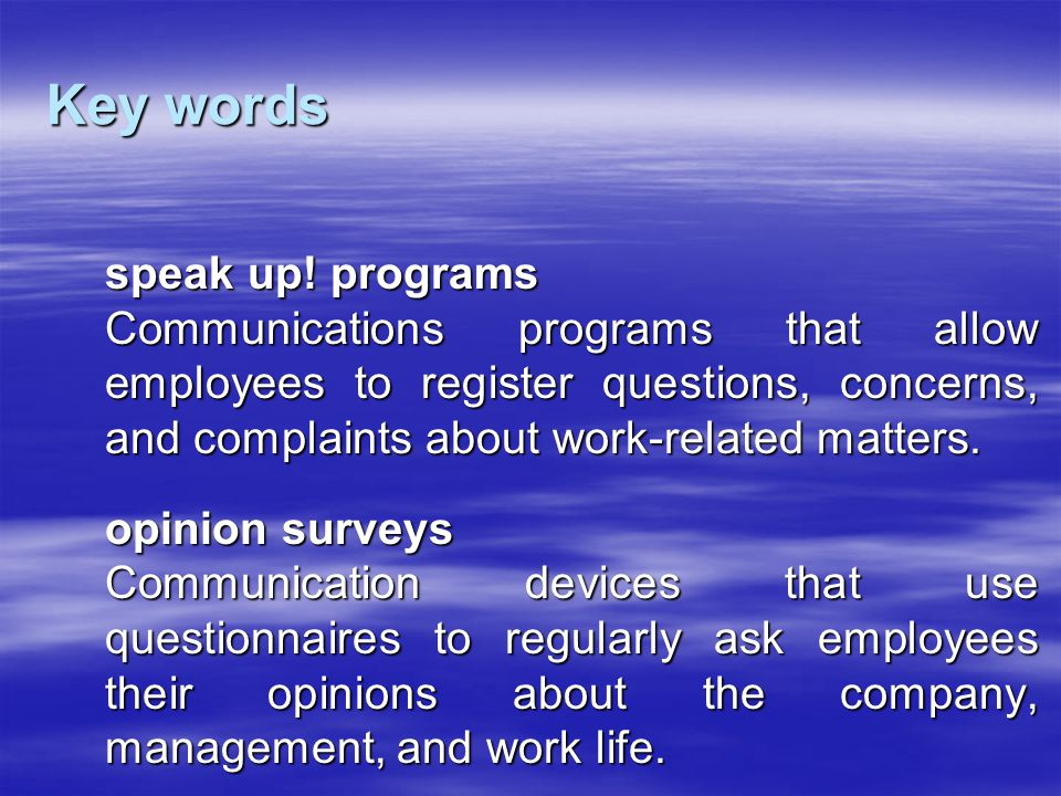 Key words speak up! programs