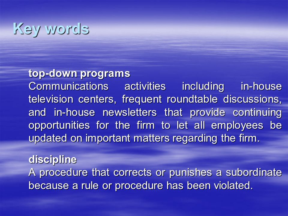 Key words top-down programs