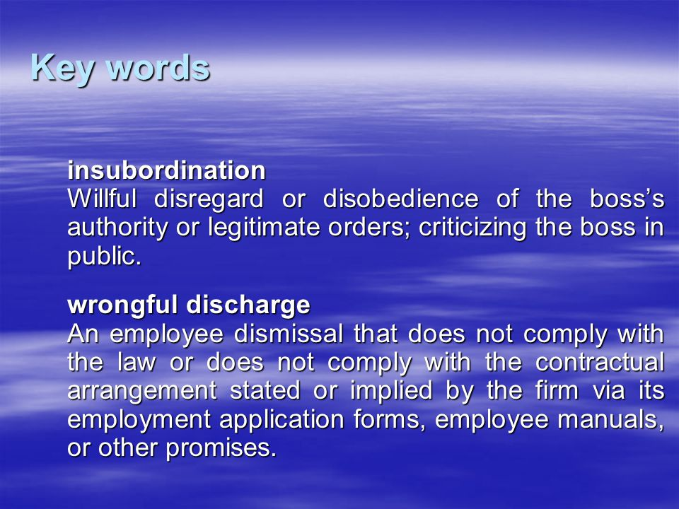 Key words insubordination