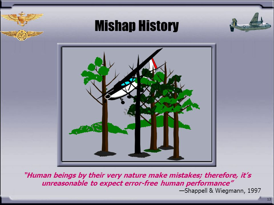 Mishap History Human beings by their very nature make mistakes; therefore, it's unreasonable to expect error-free human performance