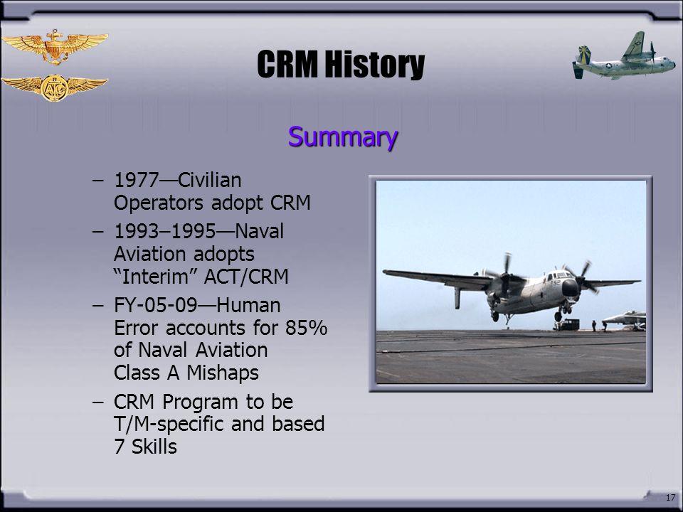 CRM History Summary 1977—Civilian Operators adopt CRM