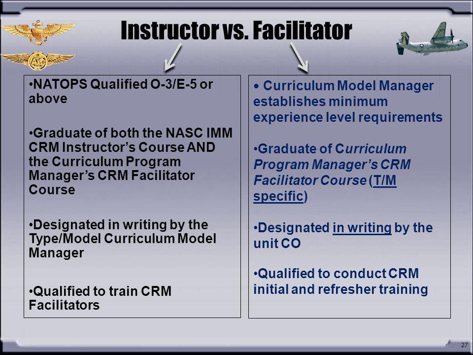 Instructor vs. Facilitator